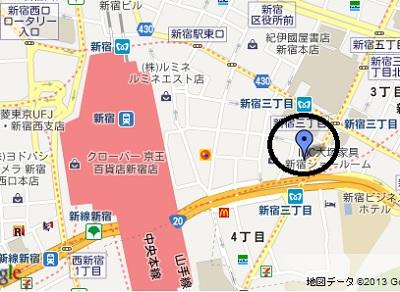 新宿三丁目貸会議室・地図